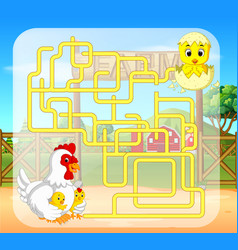 maze game with chicken vector image
