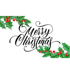 merry christmas greeting card holy on snow vector image
