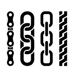 Metal chain parts icons set on white background vector