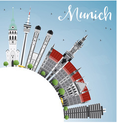 Munich skyline with gray buildings blue sky vector