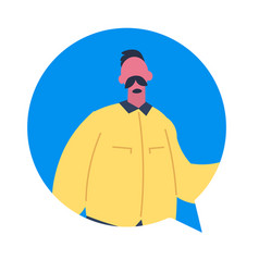 Mustache man chat bubble character avatar isolated vector