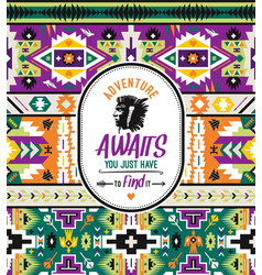 native aztec seamless pattern tribal colorful vector image