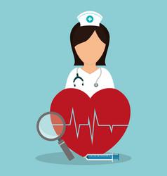 nurse medical heartbeat loupe syringe vector image