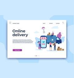 Online shopping landing page shop website modern vector