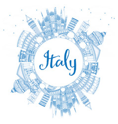 Outline italy skyline with blue landmarks and vector