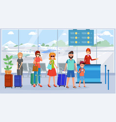 Passengers in airport terminal queue vector