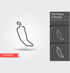 pepper line icon with editable stroke with shadow vector image
