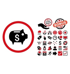 Piggy Bank Flat Icon with Bonus vector image