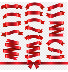 red ribbons isolated transparent background vector image