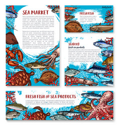 Seafood posters of sketch fresh fish vector