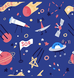 seamless pattern with rockets satellite ufo stars vector image