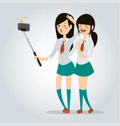 Selfie school girl isolated vector