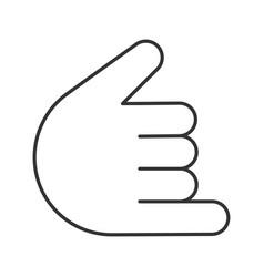 shaka hand gesture linear icon vector image