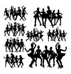 silhouettes teenager dancing in group vector image