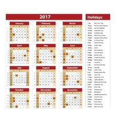 Simple calendar 2017 marked with the official vector