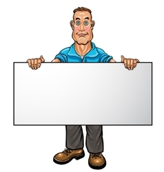 Smiling businessman holding a white blank banner vector image