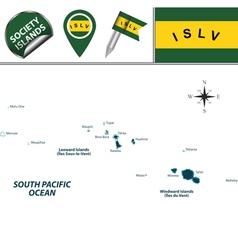 Society Islands map with named divisions vector