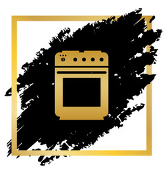 stove sign golden icon at black spot vector image
