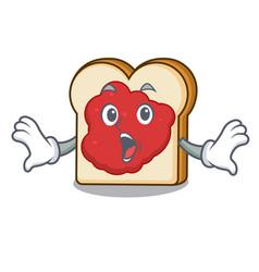 Surprised bread with jam mascot cartoon vector