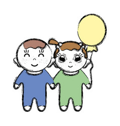 Tender babies children with clothes and balloon vector