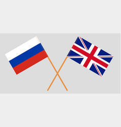 the crossed uk and russia flags vector image