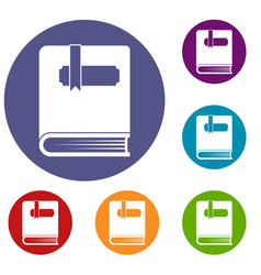 thick book with bookmark icons set vector image