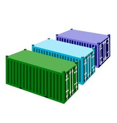 Three Freight Containers on A White Background vector