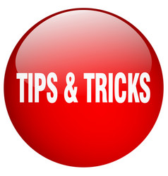 Tips tricks red round gel isolated push button vector