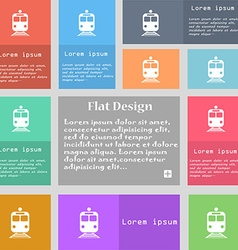 train icon sign Set of multicolored buttons with vector image