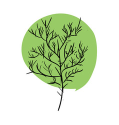 Tree doodle isolated green leaves and stem on vector