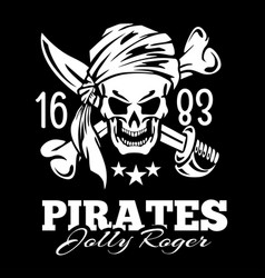 Vintage label pirates skull vector