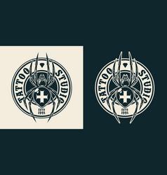 vintage tattoo salon round logo vector image
