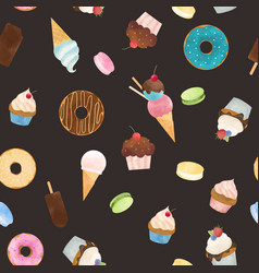 Watercolor sweets pattern vector