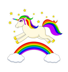 white unicorn with multicolored mane and horn vector image