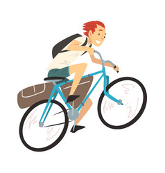 Young man with hiking backpack riding bike vector