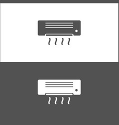 Air conditioning icon on black and white vector