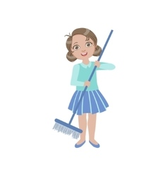 Girl Sweeping The Floor With The Broom vector image vector image