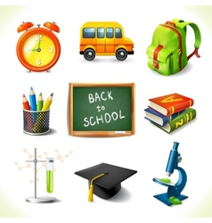 Realistic school education icons set vector image vector image