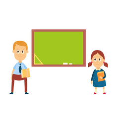 school girl and boy standing at blackboard board vector image vector image