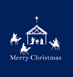 Christmas scene of jesus in the manger vector