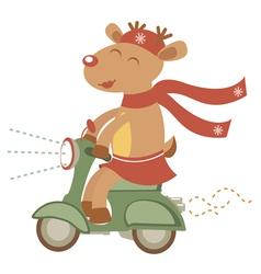 Deer girl on scooter vector image