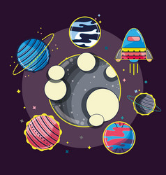 Differents planets around the moon in the galaxy vector