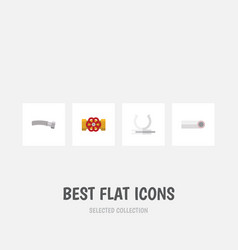 flat icon sanitary set of corrugated pipe drain vector image