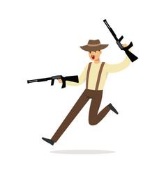mafia man character in brown fedora hat running vector image