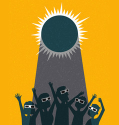 retro people celebrate watching the solar eclipse vector image vector image