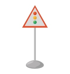 Sign road light traffic white background vector