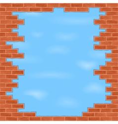 Broken brick wall vector image vector image