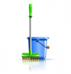 bucket and mop for cleaning vector image