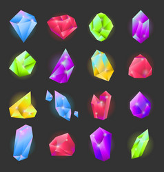 crystals or gemstones of different forms and vector image vector image