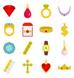 jewelry items icons set in flat style vector image